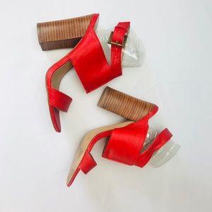 Coral Sexy Block High Heel Sandals Wood Heel Shoe